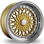 "Dare RS Gold Polished - Chrome Rivets Gold Polished / Chrome Rivets 15""(D15704100-108GPDRS20-Dare-20-4x100-15-7)"